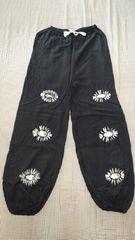 パンツ黒&クリーム絞り染めポケット有りアジアンエスニックタイダイ