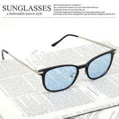 新品 ブルーレンズ シルバーテンプル ウェリントン サングラス UV メンズ レディース 150-3