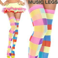 A634)MusicLegsマルチカラーカラフルチェックニーハイソックスレインボー派手ダンス靴下サイハイ