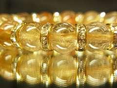 極太金針入りタイチンルチル12ミリ数珠ブレスレット!!金運パワーストーン