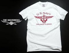 U.S.NAVY米海軍・錨マークTシャツ・白赤S・新品/ミリタリー