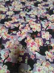 ☆新柄濃紫&薄紫格子×黒猫と桜柄ダボシャツ130