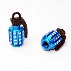 ユニークな手榴弾型 エアバルブキャップ ブルー 2個セット