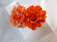髪飾りH&Mオレンジお花2個和コサージュ新品浴衣着物イベント