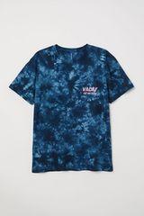 ☆H&M/エイチアンドエム 総柄 半袖 Tシャツ/メンズ/XS/ネイビー☆新品