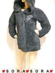 【GHOST OF HARLEM/ゴーストオブハーレム】フード付!ロゴ刺繍ボアジャケットコート