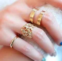 新品 1円〜★送料無料★ 3連ゴールドセットリング 黄金リーフ指輪