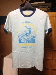 ユニクロ 細身 プリント半袖Tシャツ Sサイズ 水色×紺色 サーファー海 UT
