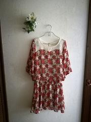 値下げ☆VENCE EXCHANGE☆薔薇柄シフォンワンピース