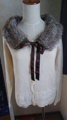 [axes femme] 裾刺繍ティペット付きカーデ