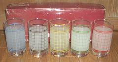 HI FASHIN Sasaki Glassチェック柄5色タンブラーセット新品