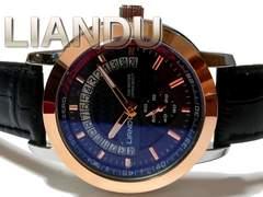 【新品】LIANDU【スモールセコンド】美しい大型メンズ腕時計