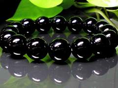 パワーストーン☆天然石!!ブラックオニキス12ミリ数珠ブレスレット§目標達成