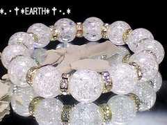 天然石★12ミリ人気爆裂クラック水晶AAA・金色ロンデル数珠