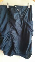 ■美品JEANASIS黒斜めボタン両脇ポケット変形スカート■