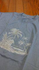 新品★「ブルーグレー?ヤシの木」半袖Tシャツ=LL=