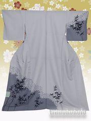【和の志】洗える着物◇単衣・付下げ◇ライトグレー・笹◇217