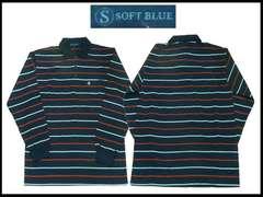新ボーダーストライプポロー L 紺色 Soft Blue