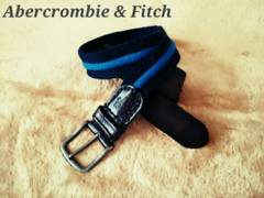 【Abercrombie & Fitch】Vintage レザー×コットン コンビベルト 32/Blue