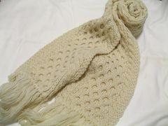 BEAMSビームス.WOOL100%ふわふわ毛糸編み極美デザインマフラー冬のNO1マスト