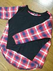 ネルシャツ×ブラック★裾アシンメトリー♪大きいサイズXL★送料250円