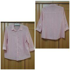 綿100% ラルフローレン風 ストライプシャツ レディースLL ピンク