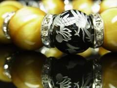 銀彫皇帝龍ブラックオニキス×ゴールデンタイガーアイブレスレット 16ミリ数珠