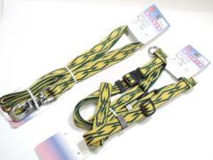 愛犬送円10kgジョイントPU7385胴輪+PU7245引紐2点セット茶/緑earthcolor