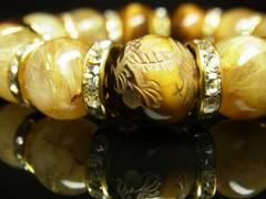 夢を叶える数珠 金彫皇帝龍タイガーアイ×タイチンルチルブレスレット 14ミリ