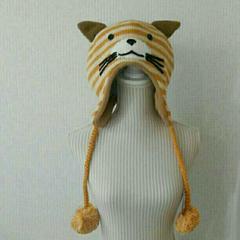 新品タグ付き 猫ニット帽 ボンボン付き