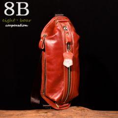 ◆牛本革 オイルなめし 小型ボディバッグ 斜め掛け◆赤茶b51