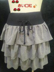 M〜Lサイズ*ラメティアードミニスカートグレー