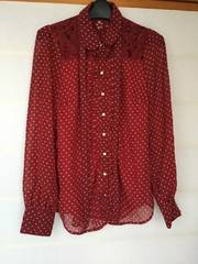 N2m 赤×白 水玉 長袖 ブラウス M リボンタイ付き INGNI