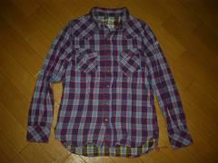 TMTダブルウエスタンチェックシャツS紫系Wティーエムティー
