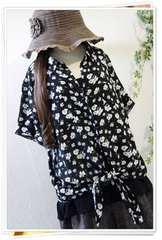 新品*サラッと涼しげ花柄シャツ&タンク/黒*大きいサイズ*4L