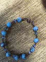 石のブレスレット☆青☆水色☆手作り