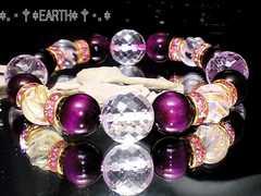 天然石★ピンクタイガーアイ&高級水晶天然石数珠