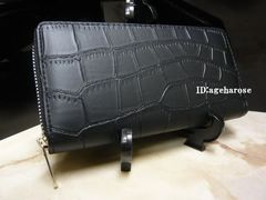 特価 新品ファスナー長財布 ブラック クロコダイル型押 合皮