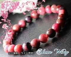 天然石ロードナイト約7.8〜8.3mmブレスレット☆濃いばら色