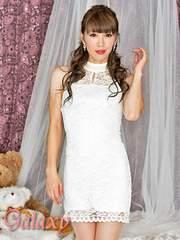 9781★Lサイズ*首元パールビーズ飾り*総レースデザインストレッチミニドレス*ホワイト