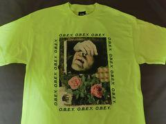 USA購入 オベイ【OBEY】蛍光イエロー プリントTシャツUS M