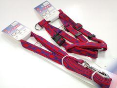 送円~10kgジョイントハーネスPU7381胴輪+リードPU7241引紐のセット赤/青犬dogs