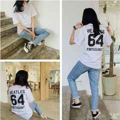 817-619981大きいサイズ☆バックプリントシンプルTシャツ☆ホワイト