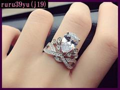 jj19/ジルコニア♪豪華な王冠指輪/Freeサイズ/15-19号調整可能