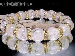 天然石★12ミリ爆裂クラック水晶AAA金色平ロンデル数珠
