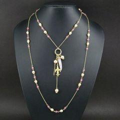 新品ゴスロリ姫系アンティーク調水晶と百合紋章のネックレス