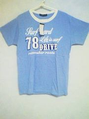 Tー52★新品★半袖サーフ系プリントTシャツ ライトブルー L