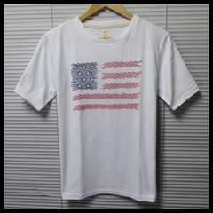 星条旗柄エンブロイダリー刺繍Tシャツ/WH/M