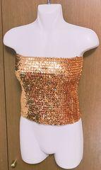 キラキラスパンコール ベアトップ ゴールド コスプレ 衣装ダンス
