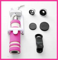スマホ 撮影キット ピンク 手元シャッター式自撮り棒 レンズ3種